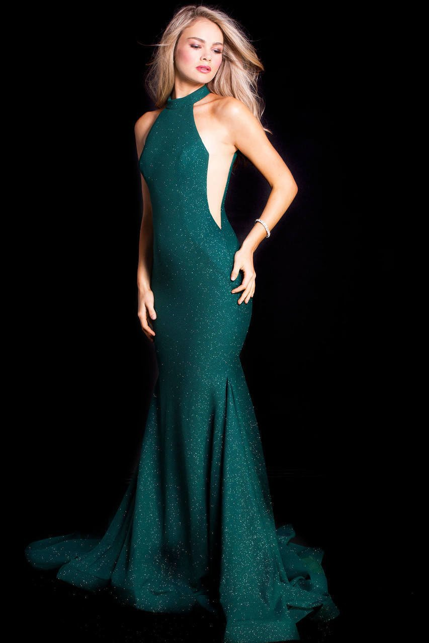 Jovani - 55185 High Halter Glitter Jersey Mermaid Gown In Green