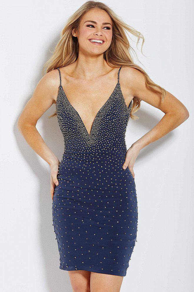 Jovani - 55188 Beaded Plunging Fitted Cocktail Dress in Blue