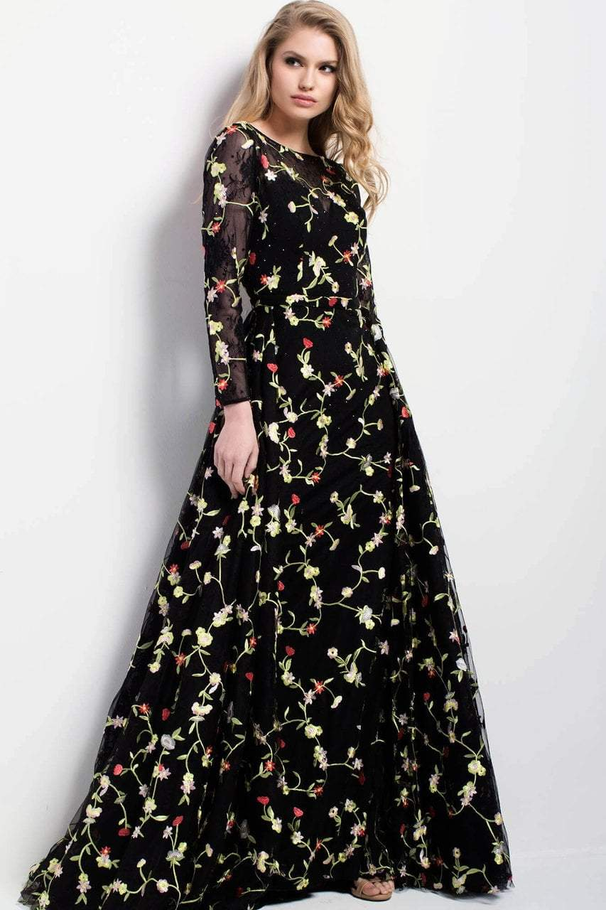Jovani - 55267 Long Sleeved Floral Evening Gown in Black and Multi-color