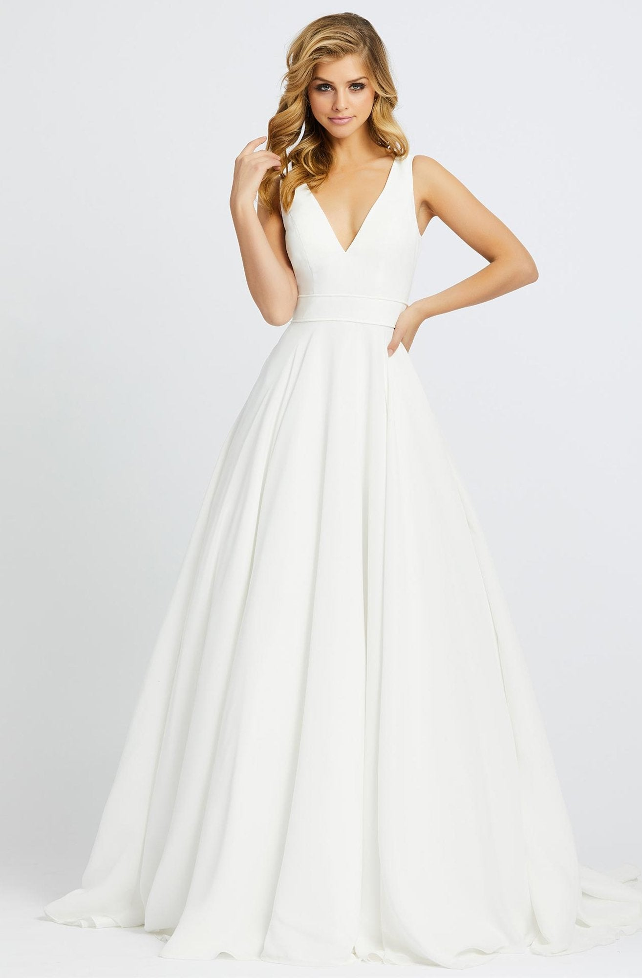 Ieena Duggal - 55272I V-Neckline Plain Long A-line Gown In White