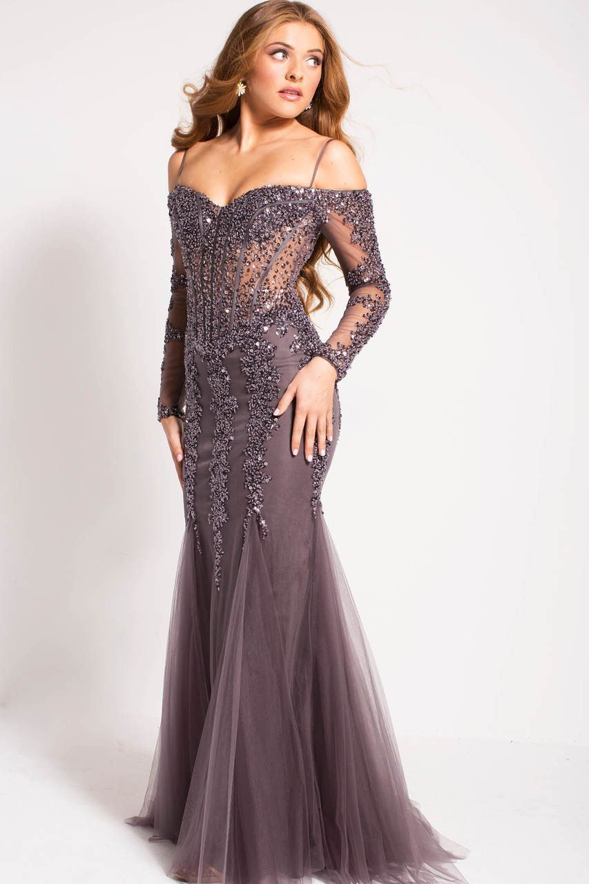 Jovani - Beaded Illusion Off Shoulder Long Sleeve Gown 55522SC In Gray
