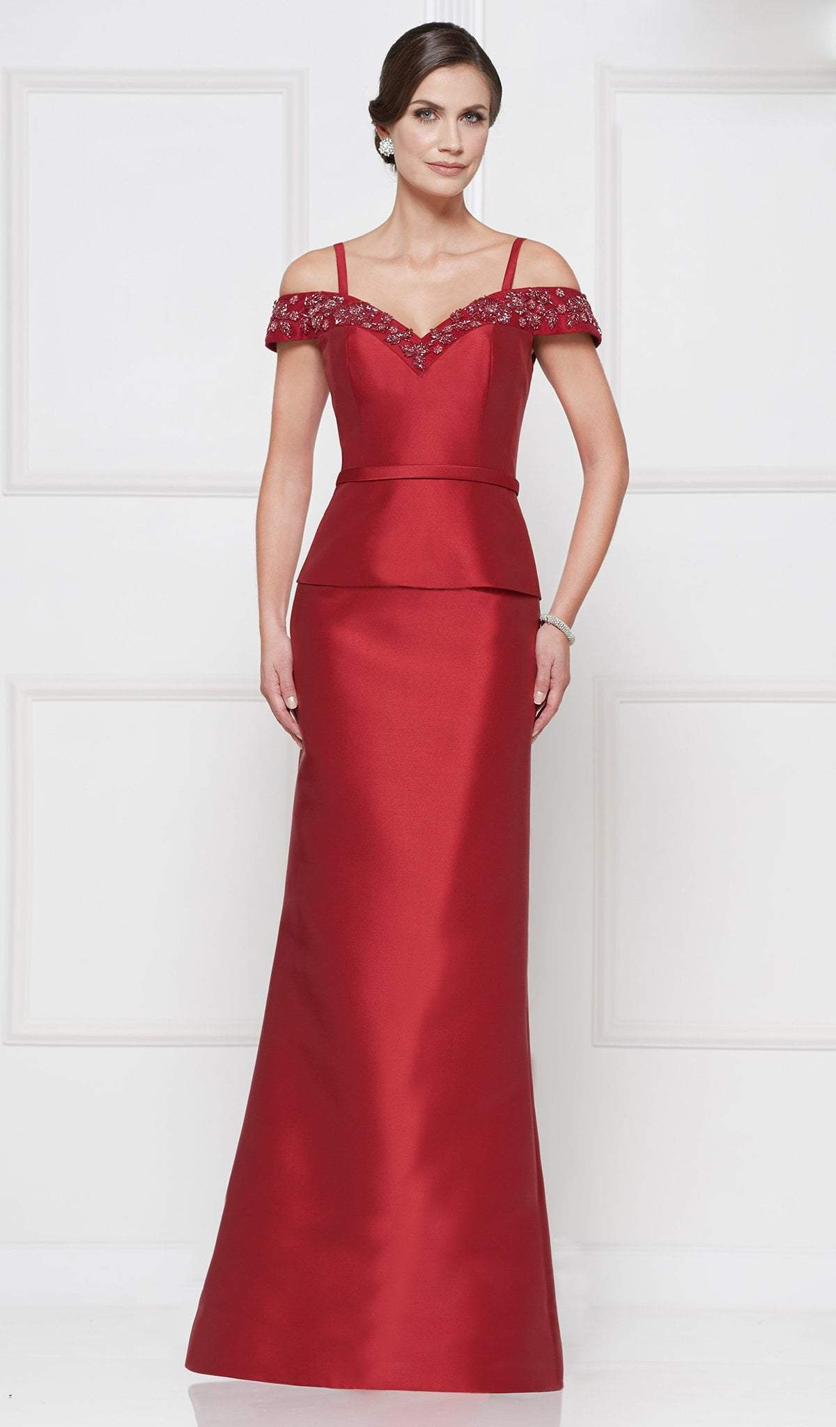 Rina Di Montella - RD2643 Floral Beaded Off Shoulder Peplum Gown In Red