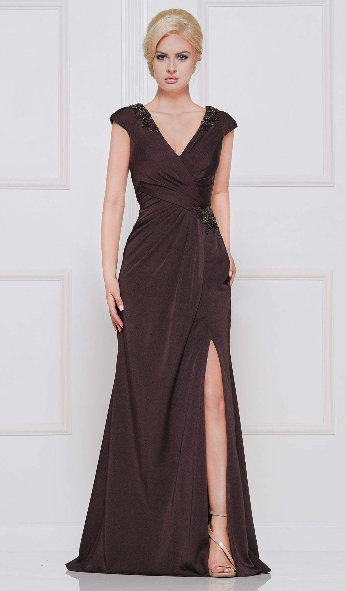 Marsoni by Colors - M252 Ornate Epaulette Surplice Bodice Long Gown Special Occasion Dress 4 / Dark Brown