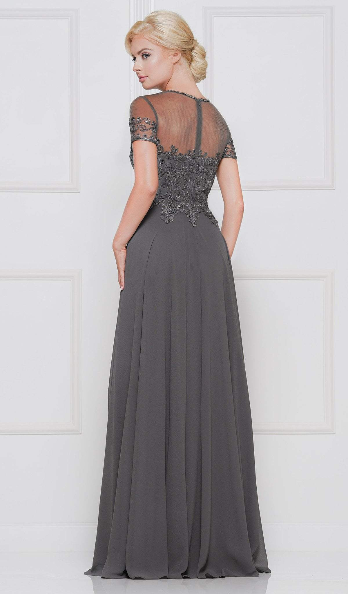 Marsoni by Colors - Short Sleeve Queen Anne Soutache Gown M271  In Gray