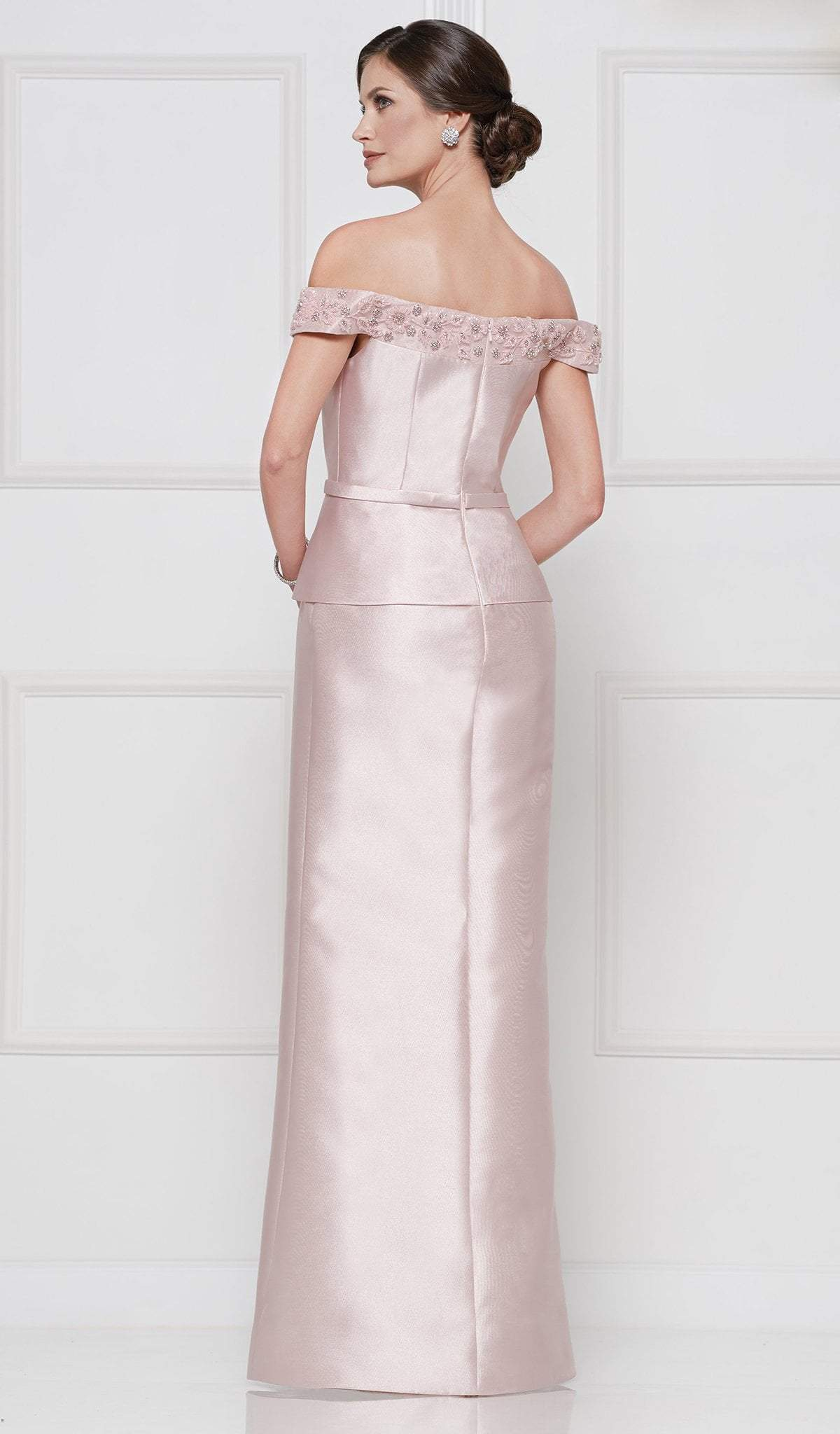 Rina Di Montella - RD2643 Floral Beaded Off Shoulder Peplum Gown In Pink