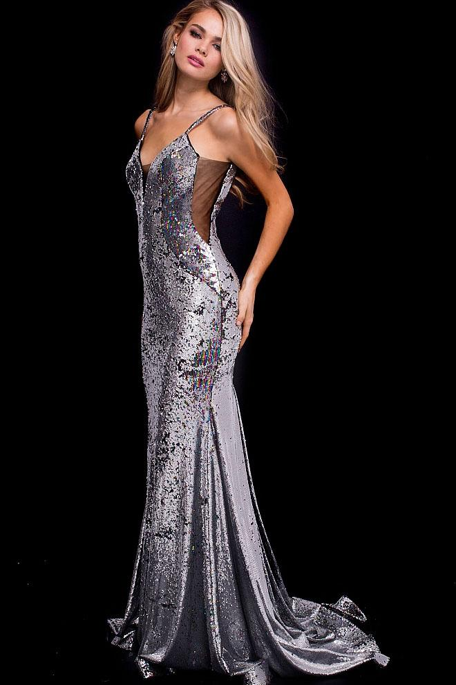 Jovani - 56897 Plunging V-Neck Sequin Prom Dress Special Occasion Dress 00 / Silver