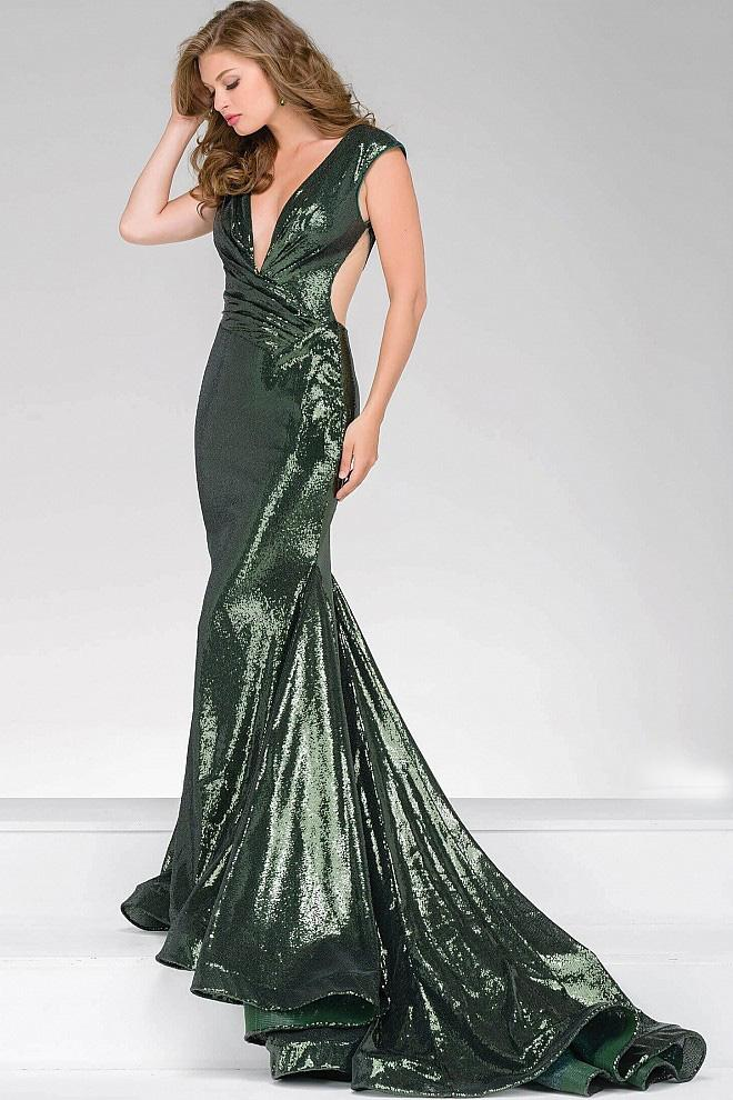Jovani - Sequined Fitted Prom Dress 56969 Special Occasion Dress 0 / Olive