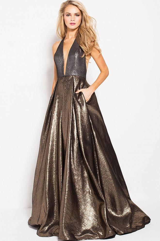 Jovani - 57237 Plunging Halter Metallic A-Line Prom Gown in Gold and Silver