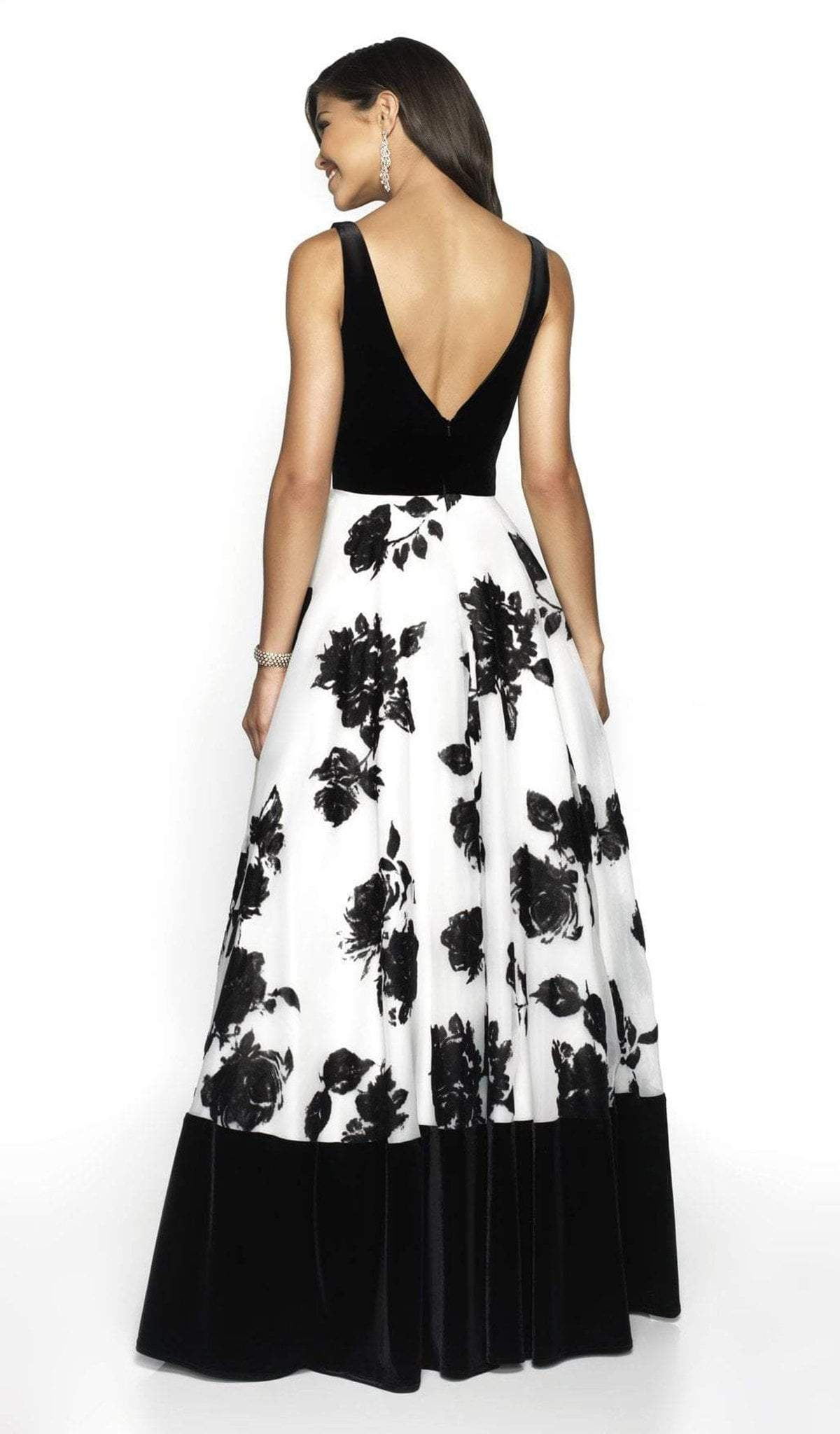 Blush by Alexia Designs - 5725 V-Neck Floral A-Line Dress In White and Black