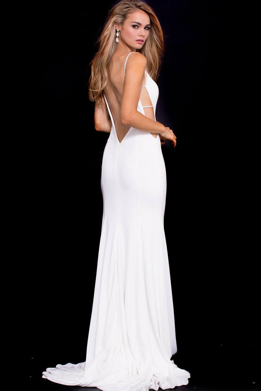 Jovani - 57295 Elaborate Strapped Plunging Cut Sheath Gown in White