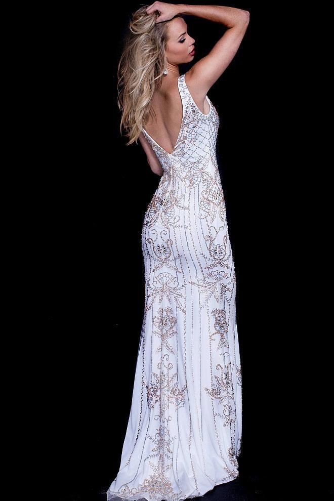 Jovani Beaded Plunging V-Neck Tulle Evening Gown 57533 in White