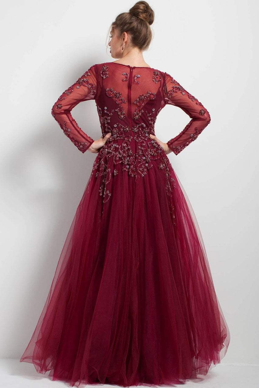 Jovani - 51587 Long Sleeve Illusion Adorned Gown In Red