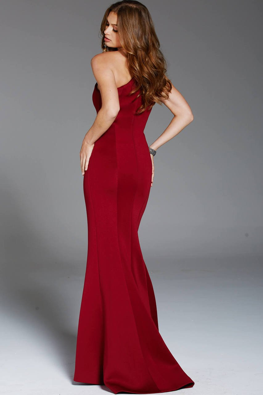Jovani - 57588 One Shoulder Fitted Scuba Sheath Gown in Red