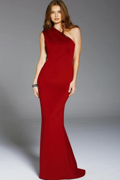 Jovani - One Shoulder Fitted Scuba Sheath Gown 57588 - Red