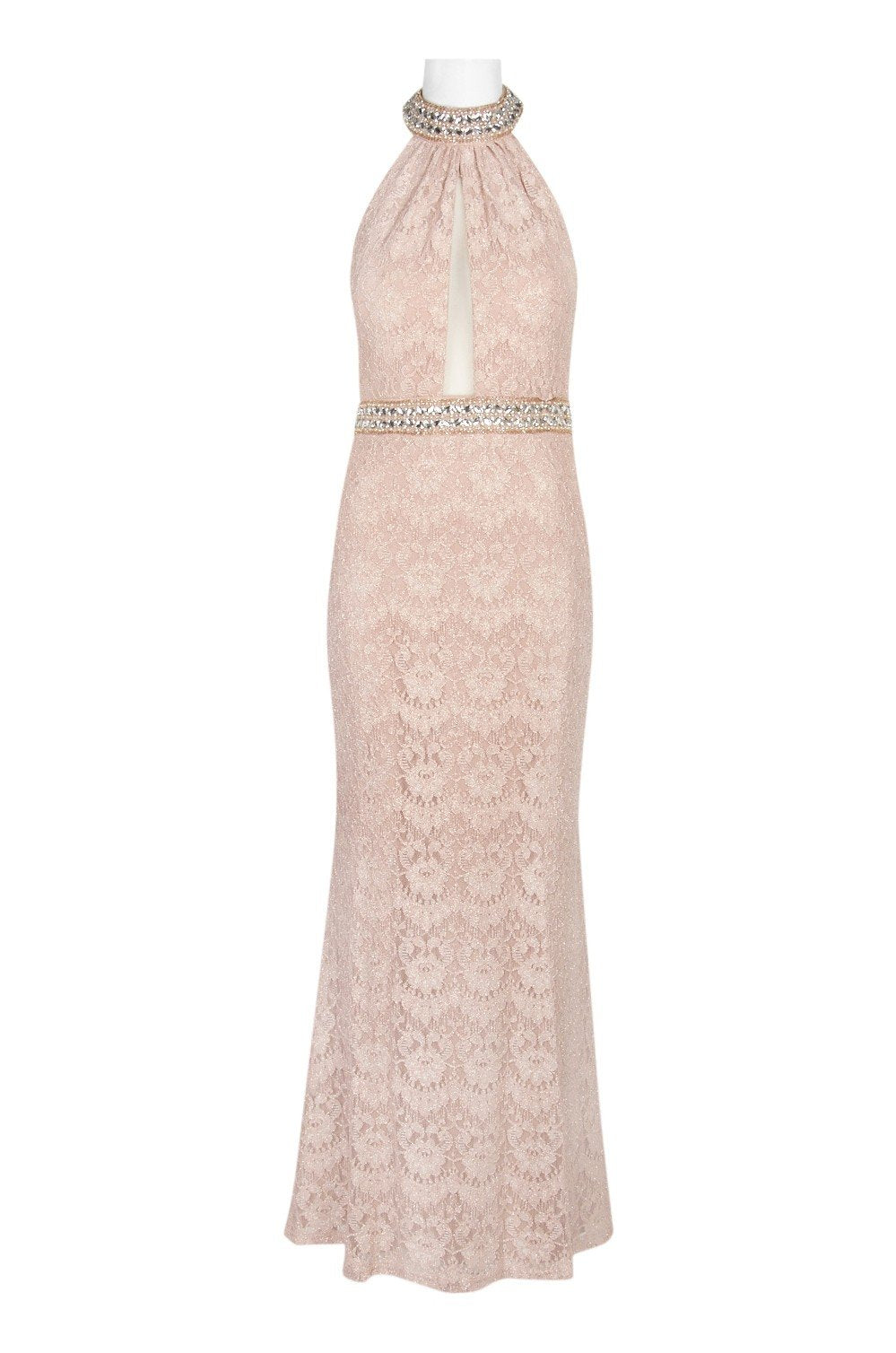 Cachet - 57808 Jeweled Collar Halter Lace Gown In Neutral