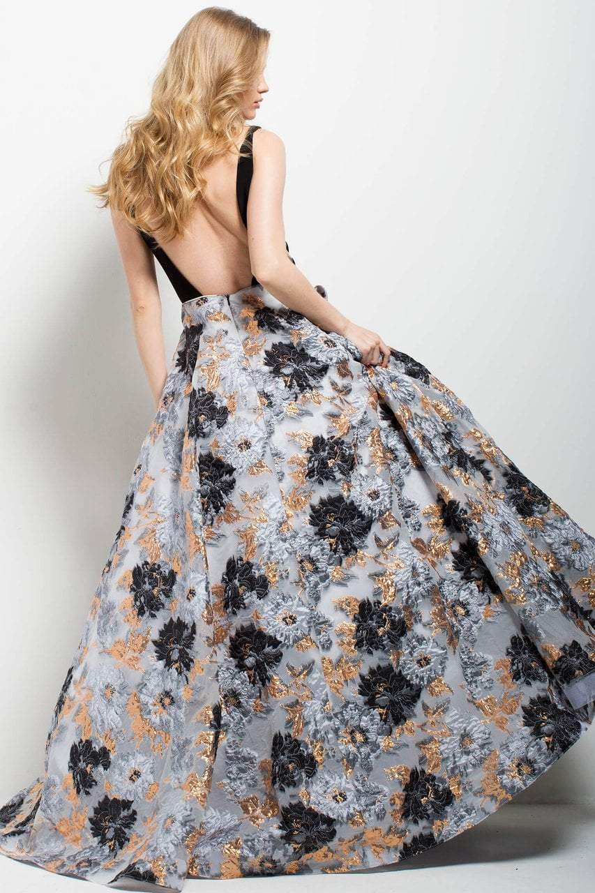 Jovani - 58207 Plunging V-Neckline Printed Ballgown in Black and Print