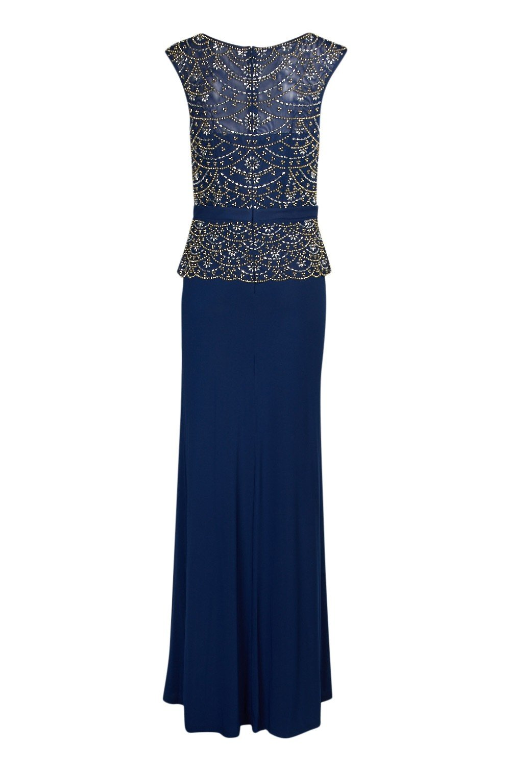 Cachet - 58245 Embellished Bodice Peplum Sheath Gown In Blue and Gold