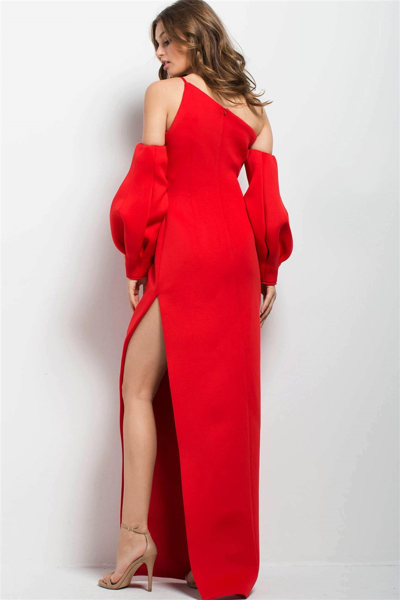 Jovani - 58511 Sheath Dress With Detachable Sleeves in Red