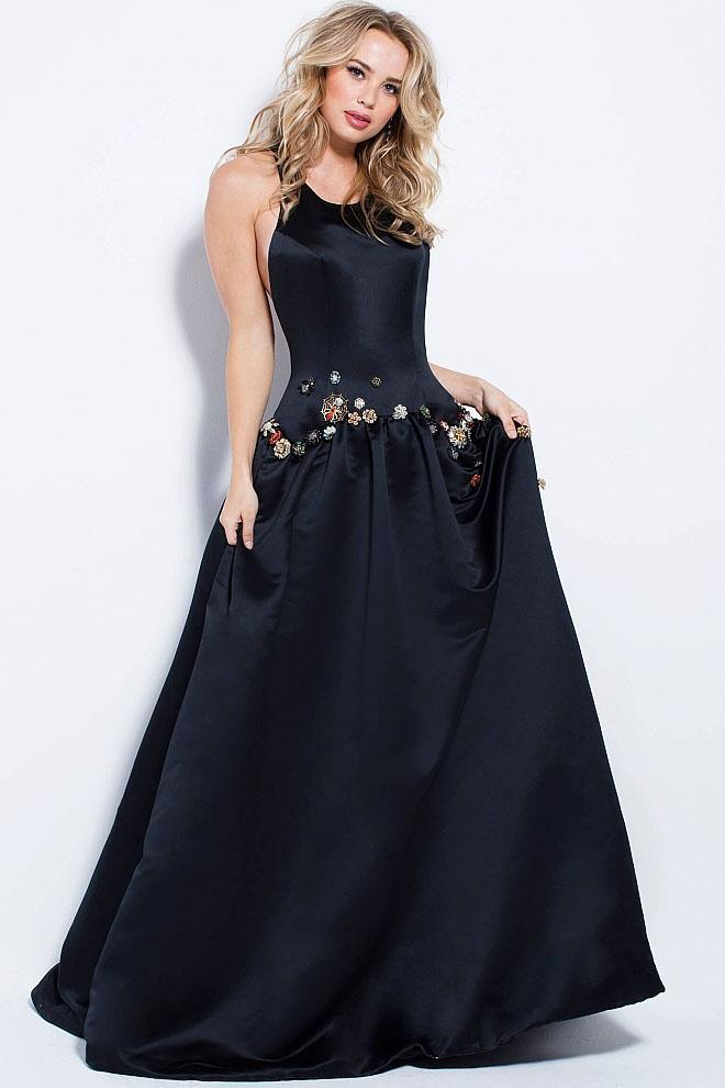 Jovani - 58577 Sleeveless Satin Racer Back Prom Gown in Black