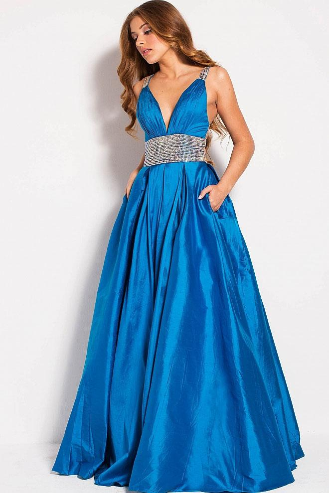 Jovani - 58600 Bedazzled Deep V-neck A-line Dress in Blue