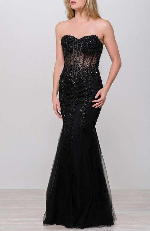 Jovani - Strapless Sweetheart Corset Illusion Bodice Mermaid Gown 5908SC In Black
