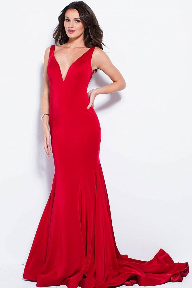 Jovani - 59300 Sleeveless Deep V-neck Mermaid Dress in Red
