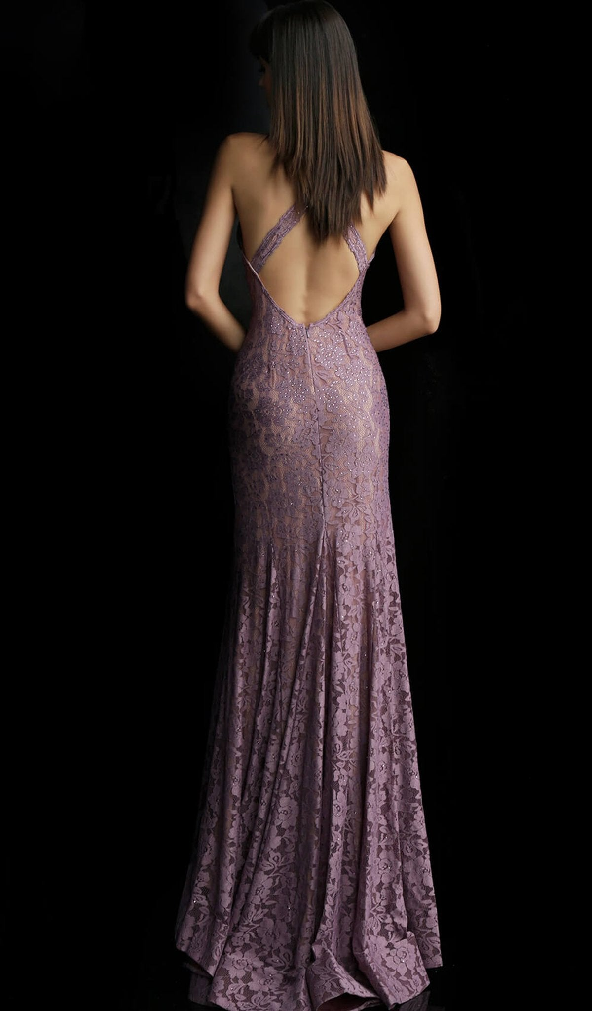 Jovani - 59592 Plunging V Neck Fitted Lace Evening Dress In Purple