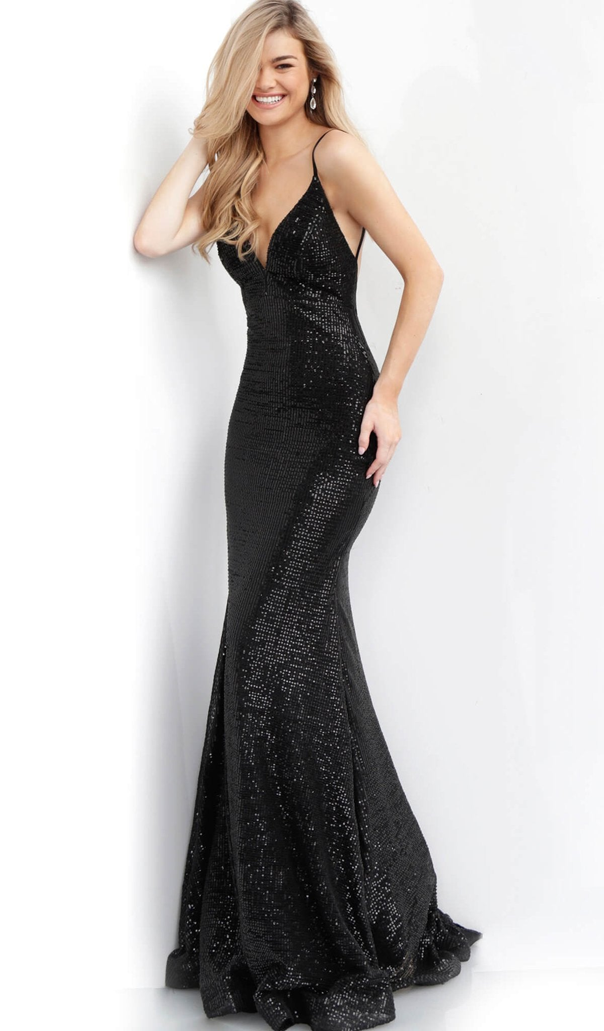 Jovani - 59691 Sequined Backless Mermaid Gown in Black
