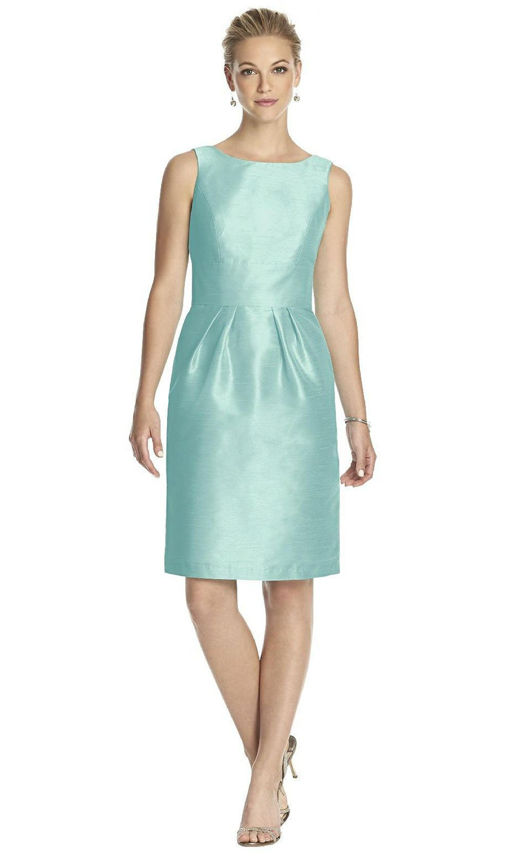 Alfred Sung - Sleeveless Bow Accented Open Back Silk Cocktail Dress D522SC In Blue and Green