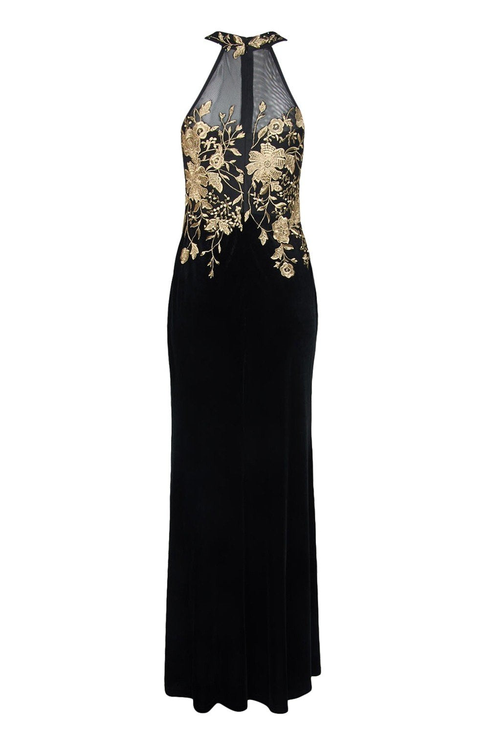 Cachet - 59820 Gilt Floral Embroidered Illusion Halter Gown In Black and Gold