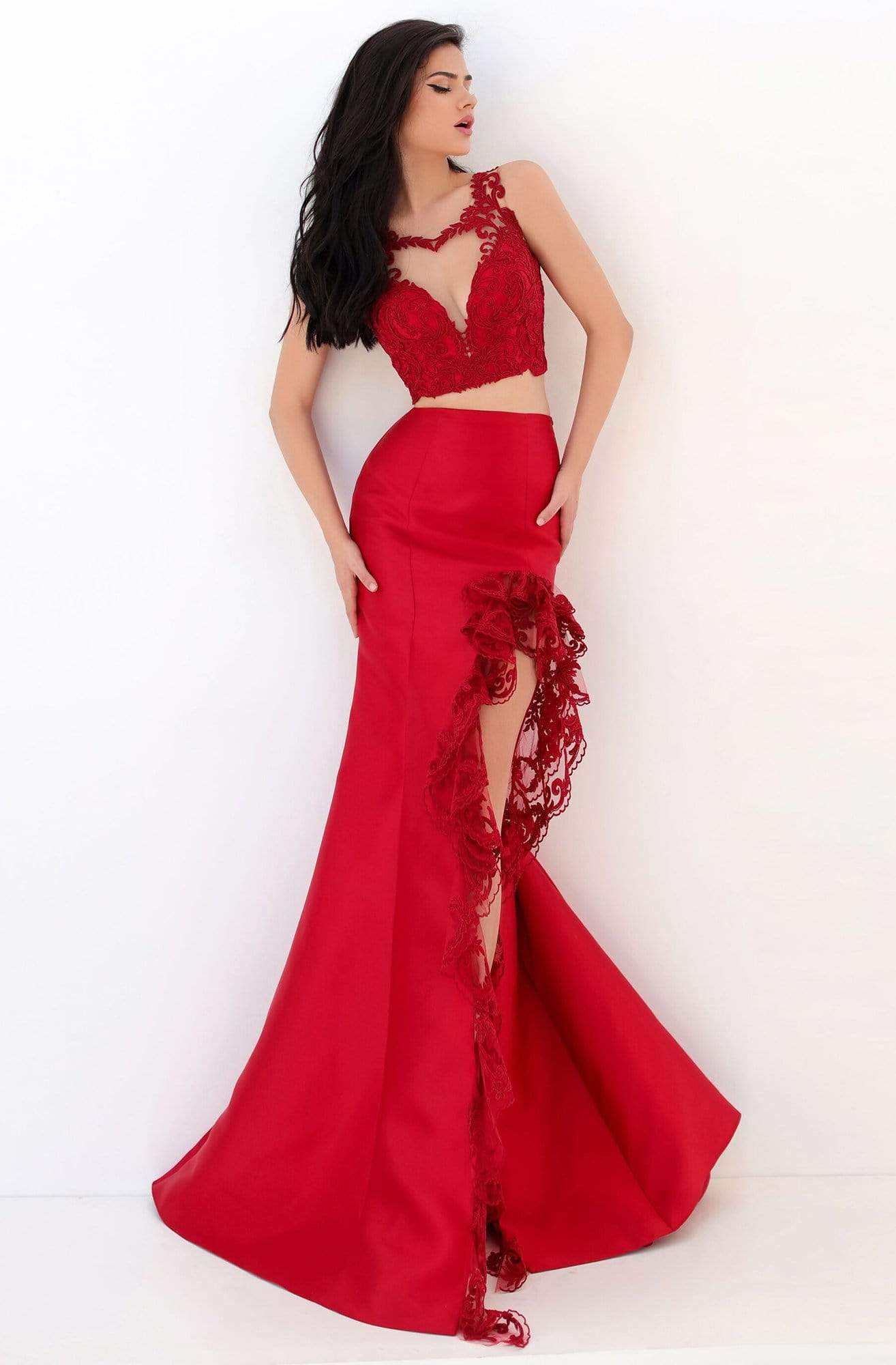 Tarik Ediz - 50696 Two-Piece Ruffle Lace Trimmed High Slit Gown Prom Dresses 0 / Red