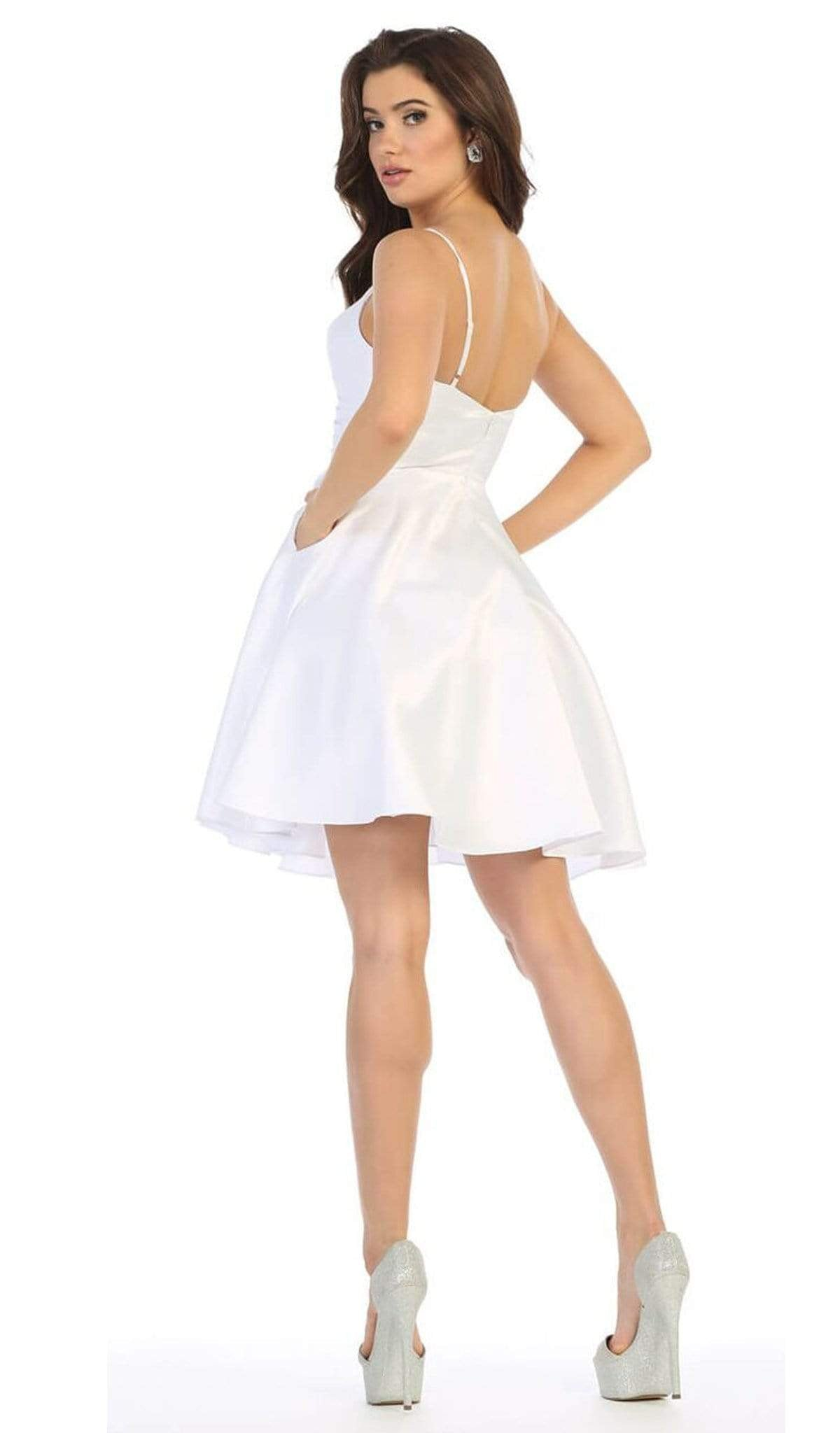 May Queen - MQ1654 V Neck Sleeveless Fit and Flare Short Dress In White