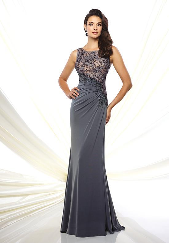 Mon Cheri - Embellished Sleeveless A-line Gown in Gray and Neutral