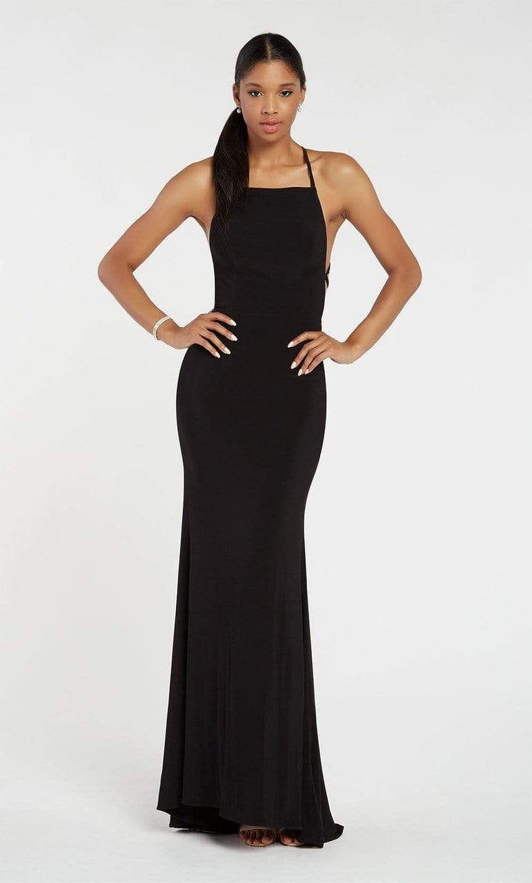 Alyce Paris - 60001 High Lace Up Back Jersey Sheath Gown Evening Dresses 000 / Black
