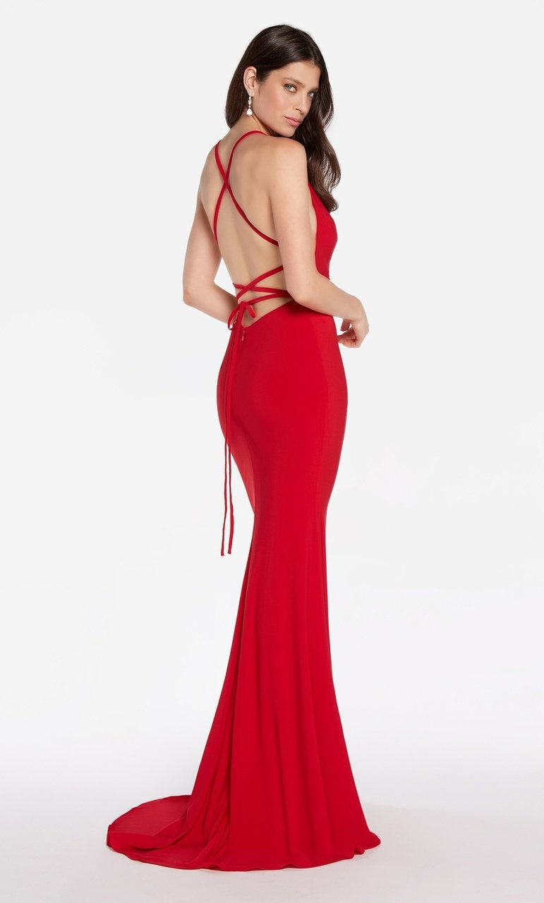 Alyce Paris - 60001 High Lace Up Back Jersey Sheath Gown Evening Dresses