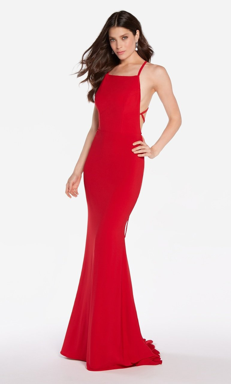 Alyce Paris - 60001 High Lace Up Back Jersey Sheath Gown Evening Dresses 000 / Red
