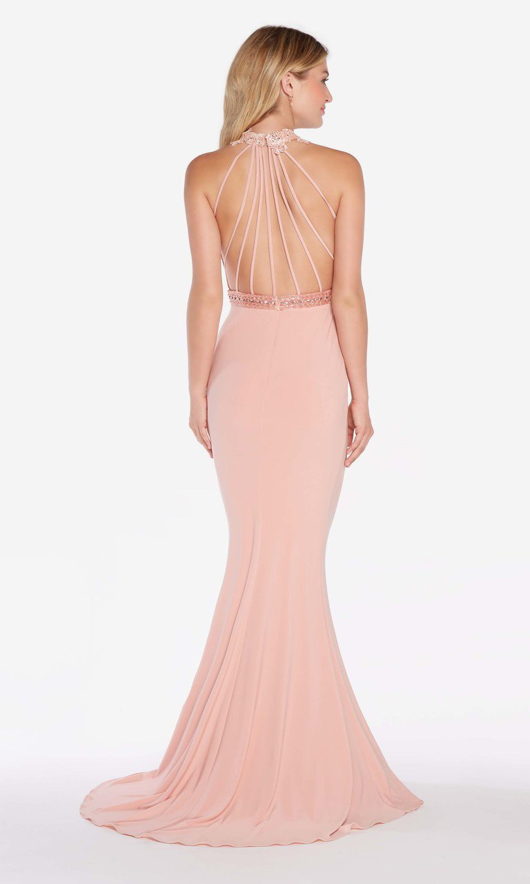 Alyce Paris - 60024 Floral Beaded Illusion High Halter Mermaid Gown In Pink