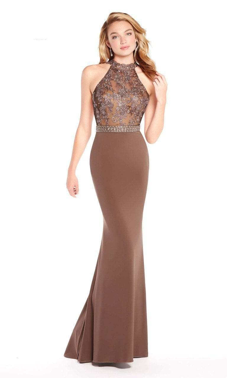 Alyce Paris - 60024 Floral Beaded Illusion High Halter Mermaid Gown In Brown and Gray