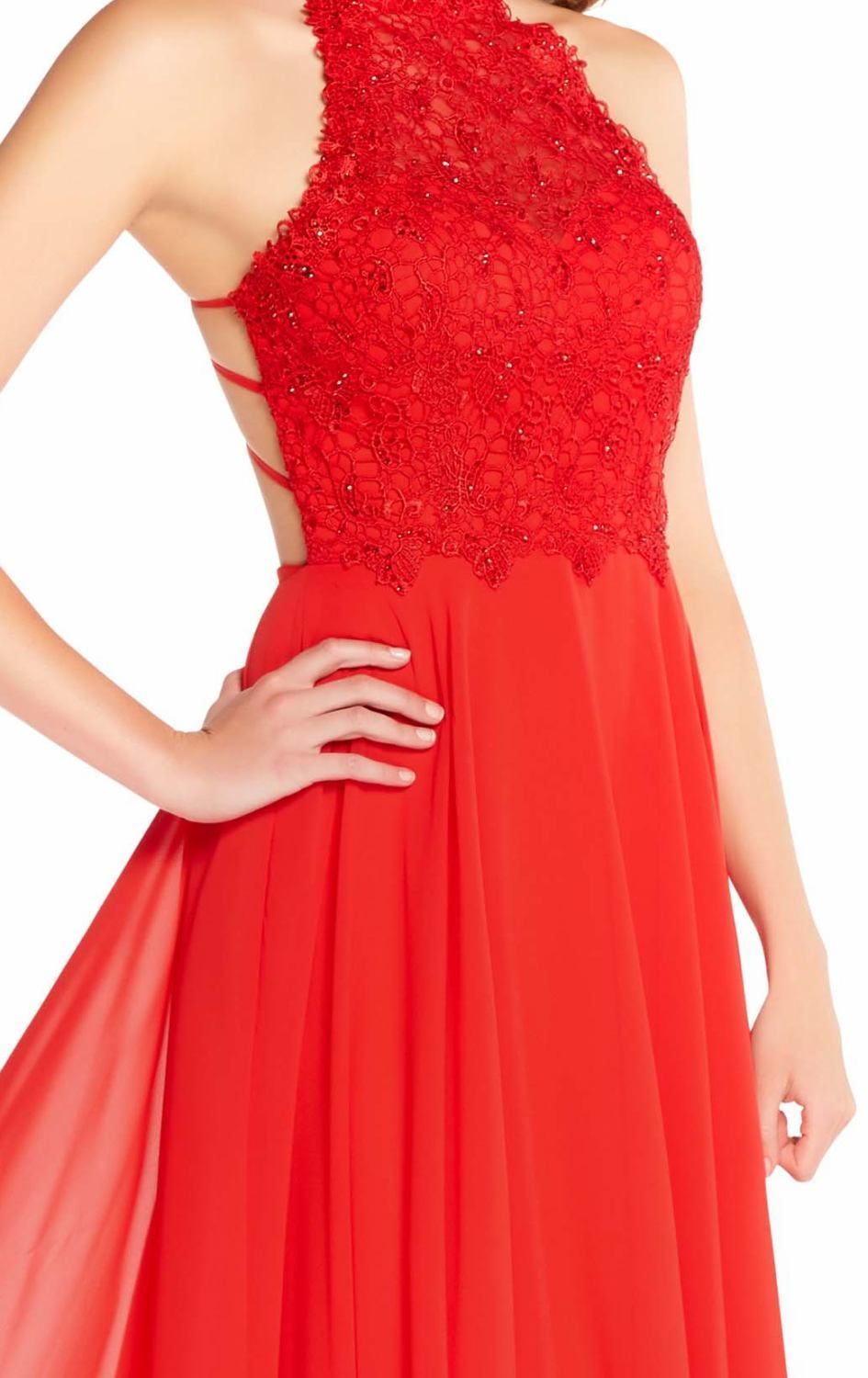 Alyce Paris - 60061 Beaded Lace Bodice Strappy Open Back Chiffon Gown In Red