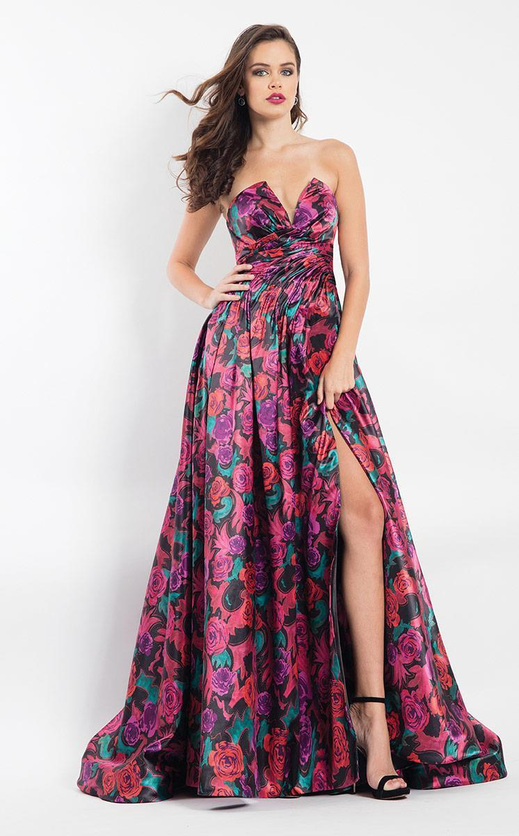 Rachel Allan - 6006 Strapless Floral Print A-line Gown in Black and Multi-Color