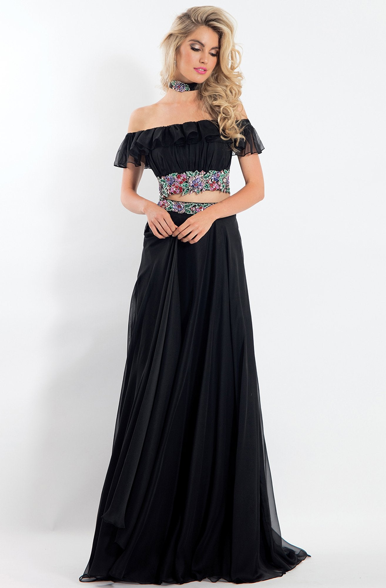 Rachel Allan - 6010 Two-Piece Off Shoulder Floral Chiffon Dress in Black