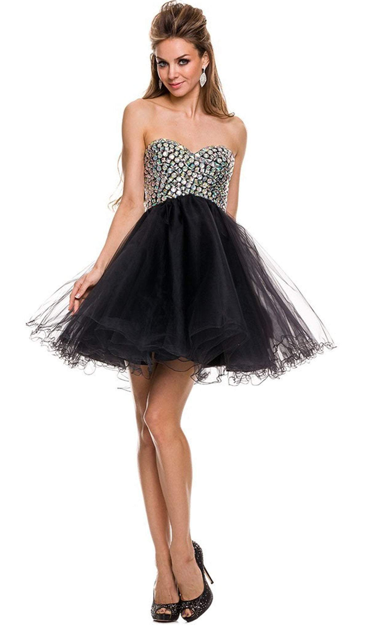 Nox Anabel - Strapless Beaded Sweetheart A-Line Dress 6010SC