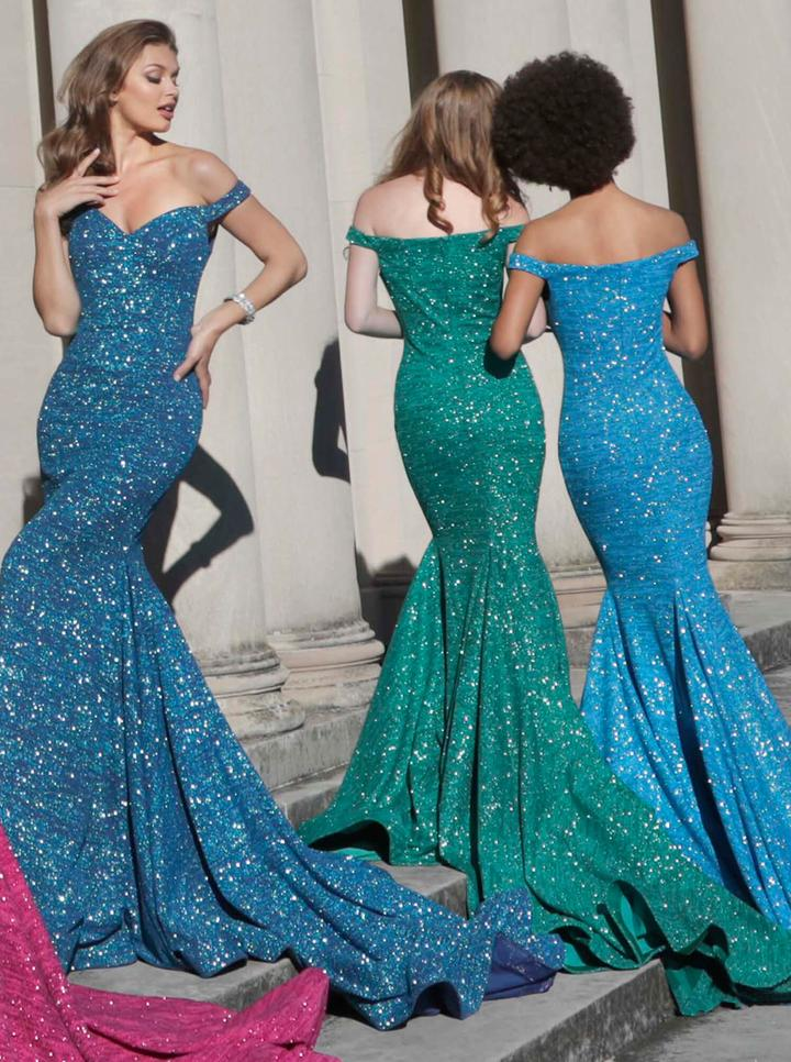 Jovani - 60122SC Glitter Jersey Off Shoulder Mermaid Gown