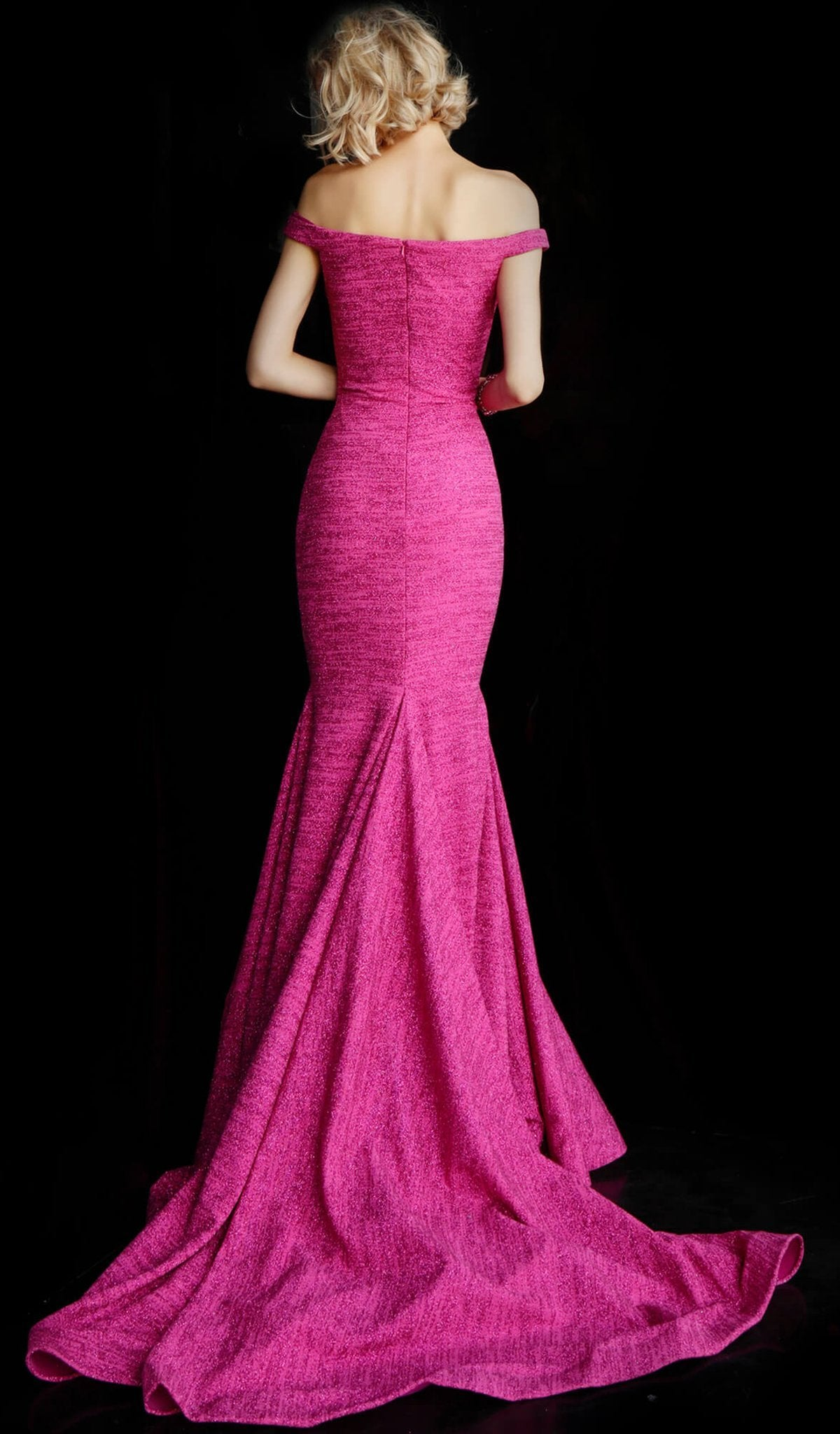 Jovani - Off Shoulder Textured Glitter Mermaid Gown 60122 In Pink