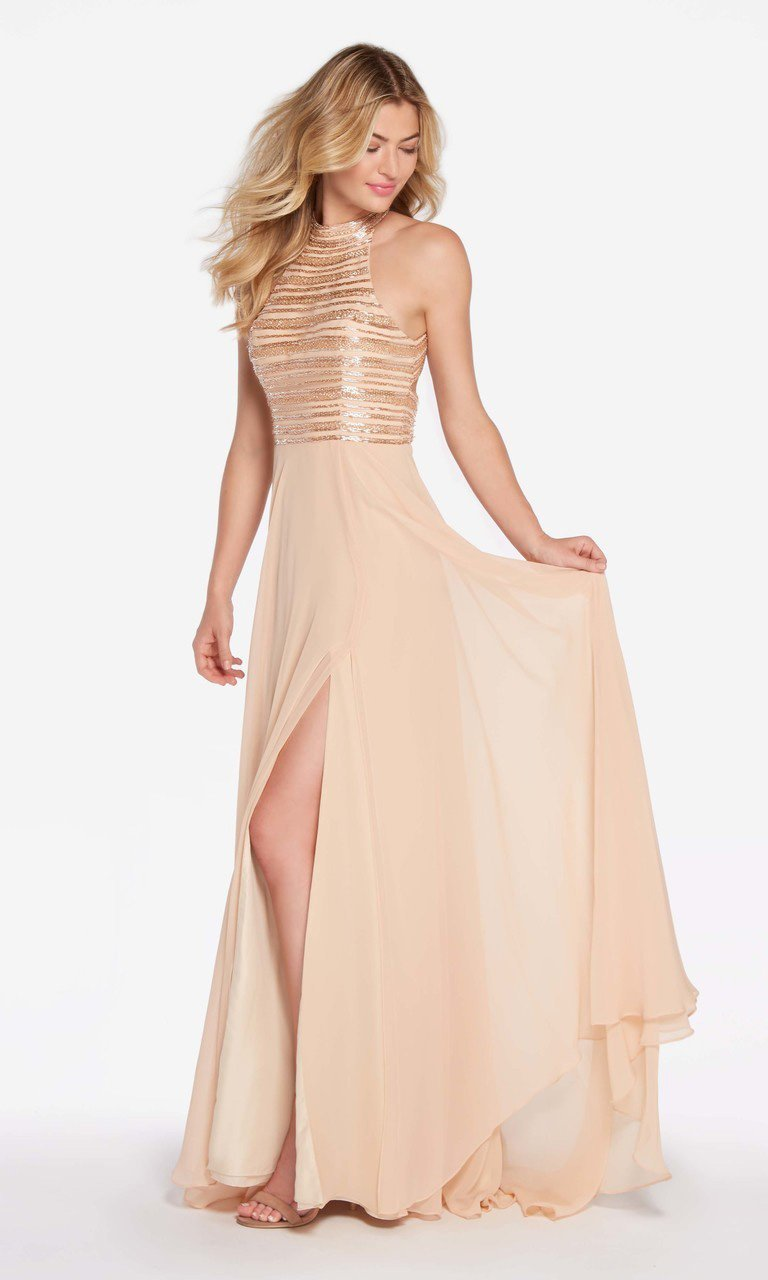Alyce Paris - 60146 Sleeveless Stripe Beaded High Slit Chiffon Gown Special Occasion Dress