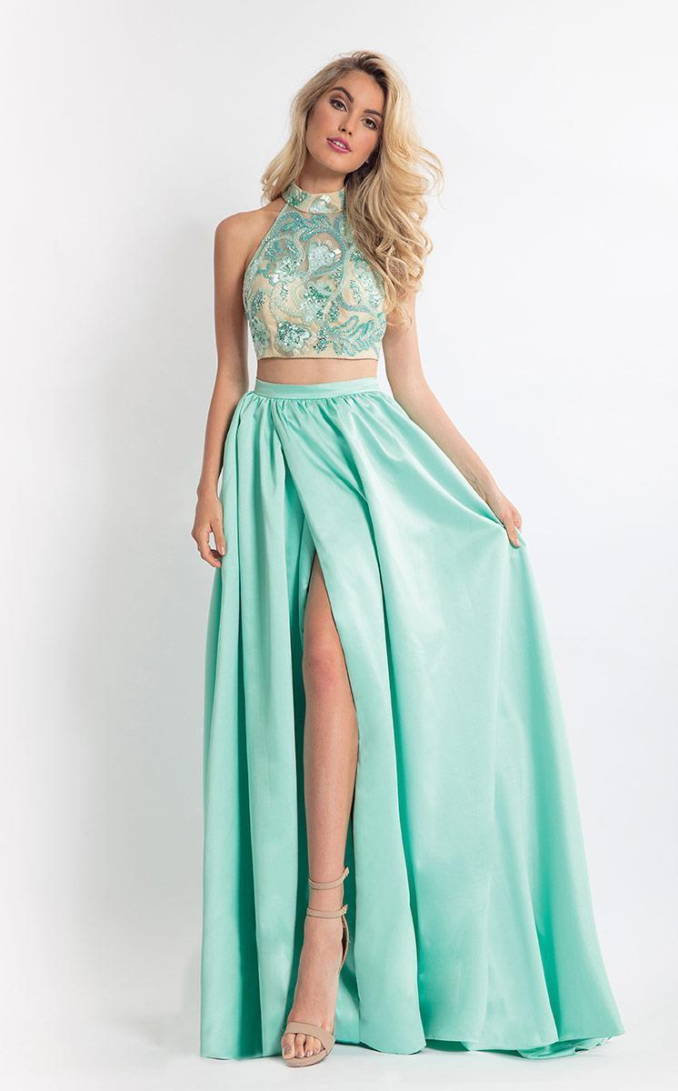 Rachel Allan - 6014 Sequined Halter A-line Dress in Green