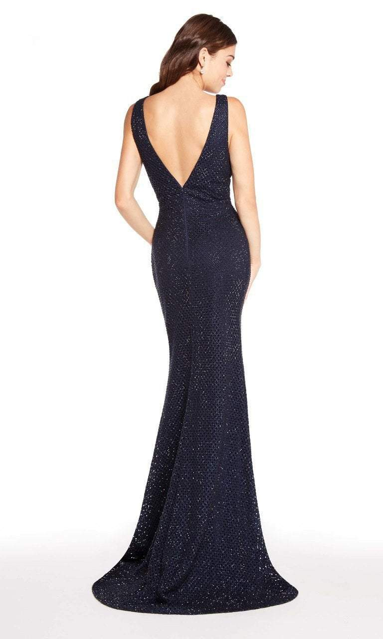 Alyce Paris - 60156 Deep V-Neck Diamond Lace Sheath Gown In Blue