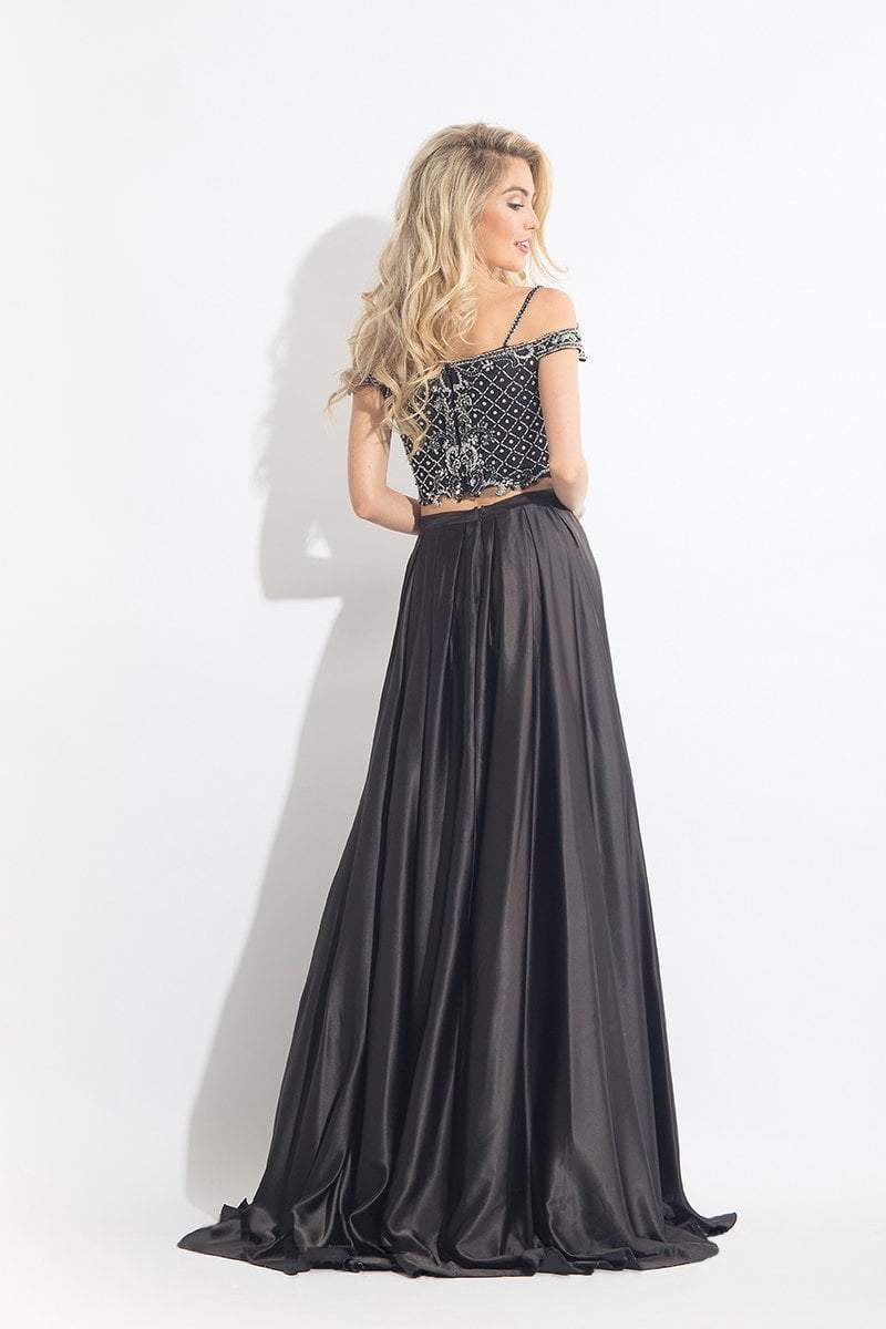 Rachel Allan - 6020 Beaded V-neck A-line Dress in Black