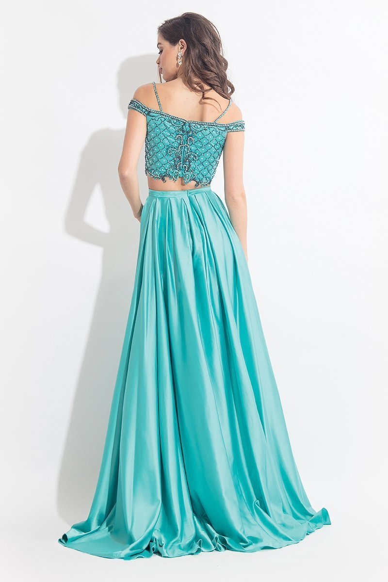 Rachel Allan - 6020 Beaded V-neck A-line Dress in Green