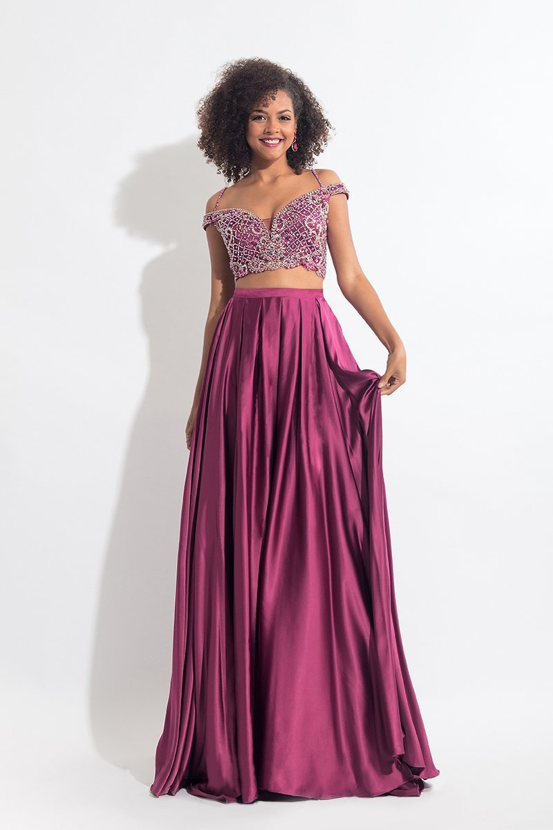Rachel Allan - 6020 Beaded V-neck A-line Dress in Purple
